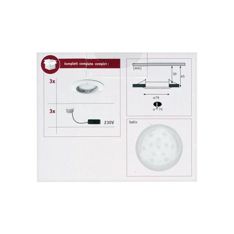 Paulmann 92823 - KÉSZLET 3xLED Fürdőszobai beépíthető lámpa COIN 3xLED/7W/230V