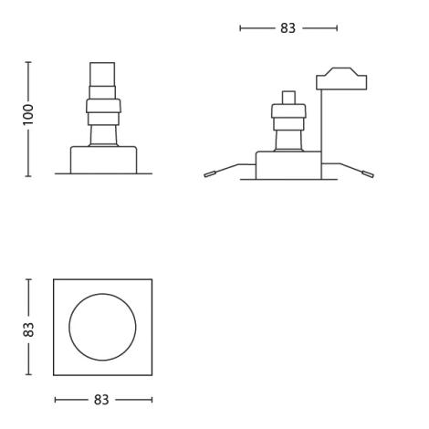 Philips 59780/17/12  - Beépíthető lámpa BOMBAY SQUARE 1xGU10/50W/230V