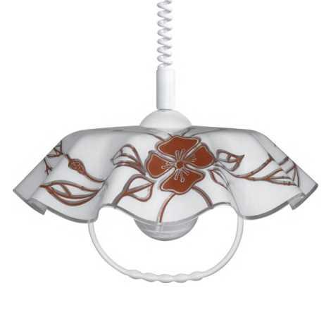 Állítható maggasságú csillár AKRYL FA 1xE27/60W fehér- sötét virágok