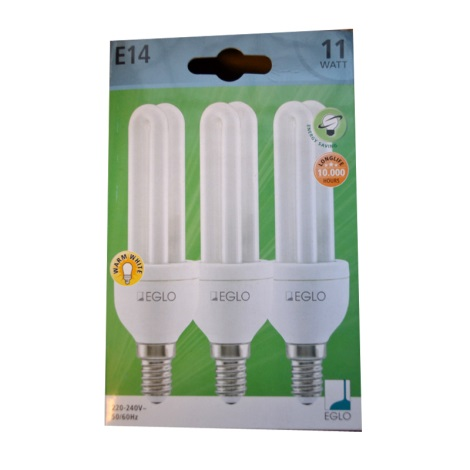 EGLO 12468 - Energiatakarékos izzó 3 db-os szett E14/11W/230V