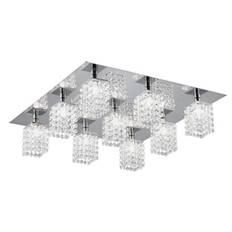 Eglo 89493 - Mennyezeti kristály lámpa PYTON 9xG9/33W/230V