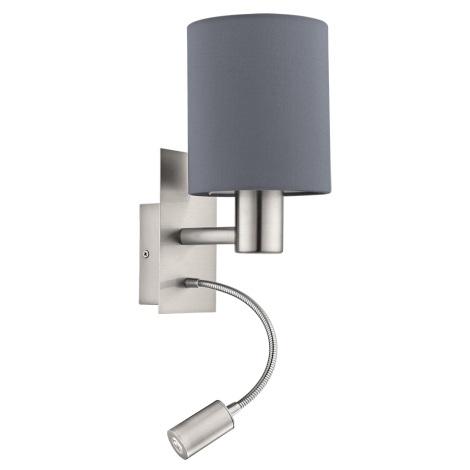 Eglo - LED Fali lámpa 1xE27/40W+LED/3,5W szürke