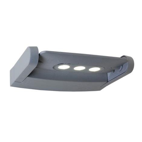 Emithor 70123 - AWAX LED-es kültéri fali lámpa 3xLED/3W ezüst IP54