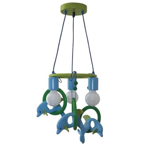 Függesztékes csillár Delfin 3xE27/60W/230V kék/zöld