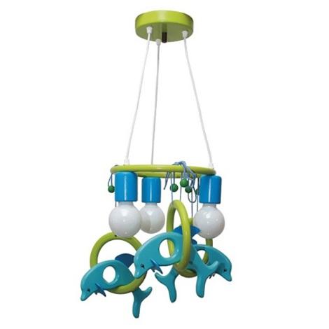 Függesztékes csillár Delfin 3xE27/60W/230V világos kék/zöld