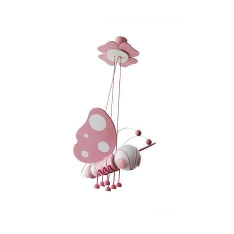 Függesztékes csillár Pillangó  fehér/rózsaszín