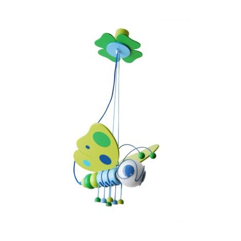 Függesztékes csillár Pillangó kék/zöld