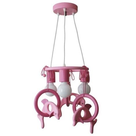 Függó  csillár Delfin lila/pink/fa
