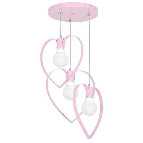 Gyermek csillár LOVE 3xE27/60W/230V halvány rózsaszín