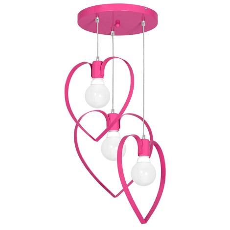 Gyermek csillár LOVE 3xE27/60W/230V rózsaszín