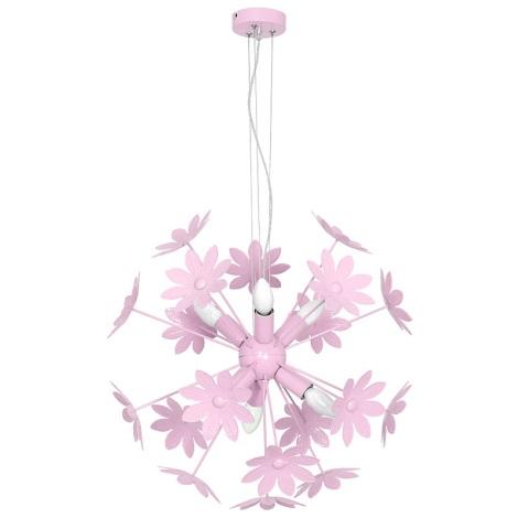 Gyermek csillár MAJA 6xE14/60W/230V halvány rózsaszín