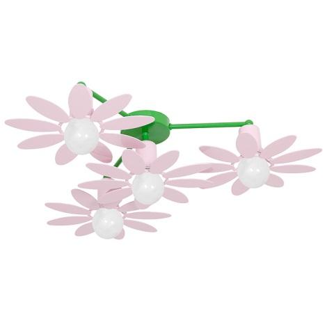 Gyermek csillár VIRÁG  4xE27/60W rózsaszín