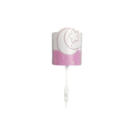 Gyermek fali LED lámpa világos rózsaszín MOON 1xE14/0,5W LED