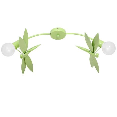 Gyermek mennyezeti lámpa VÁŽKA 2xE27/60W zöld