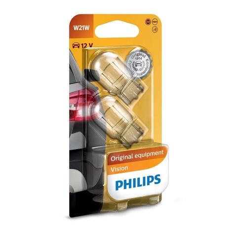 Készlet 2 x autó izzó Philips VISION 12065B2 W21W W3x16d/21W/12V