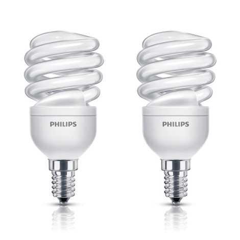KÉSZLET 2x energiatakarékos izzó PHILIPS E14/12W/230V 741lm