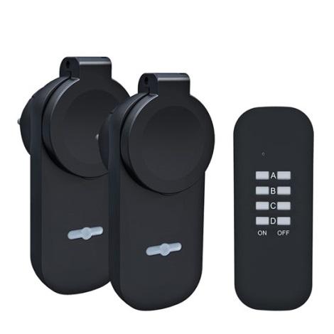 KÉSZLET 2x Kültéri konnektor + távirányító IP44