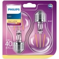 KÉSZLET 2x LED Izzó Philips E27/4,3W/230V 2700K
