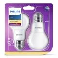 KÉSZLET 2x LED izzó Philips E27/8W/230V 2700K