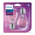 KÉSZLET 2x LED Izzó VINTAGE Philips E27/4W/230V 2700K