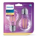 KÉSZLET 2x LED Izzó VINTAGE Philips E27/7W/230V 2700K