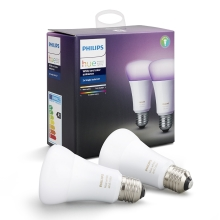 KÉSZLET 2x LED RGB Dimmelhető izzó Philips HUE WHITE AND COLOR AMBIANCE E27/10W/230V