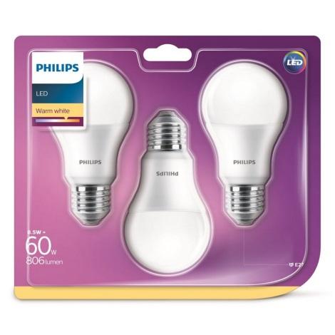 Készlet 3 x LED izzó Philips A60 E27/8,5W/230V