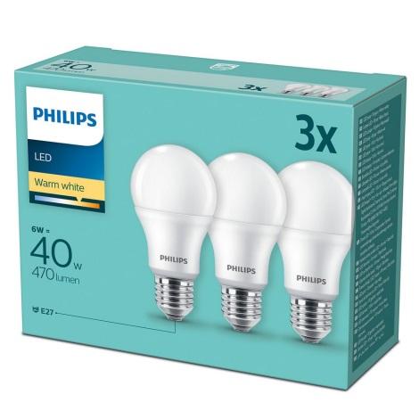 KÉSZLET 3x LED Izzó Philips E27/6W/230V 2700K