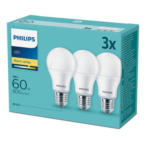 Készlet 3x LED Izzó Philips E27/9W/230V 2700K