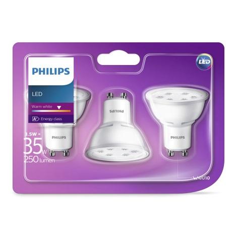 KÉSZLET 3x LED Izzó Philips GU10/3,5W/230V 2700K