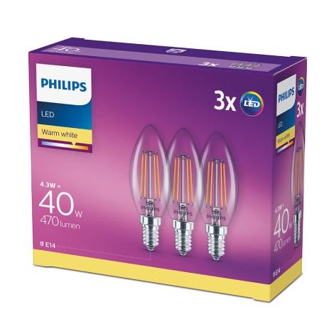 KÉSZLET 3x LED Izzó VINTAGE Philips E14/4,3W/230V 2700K