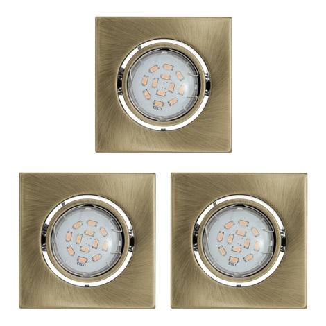 KÉSZLET 3x LED mennyezeti lámpa IGOA 1xGU10/5W/230V bronz