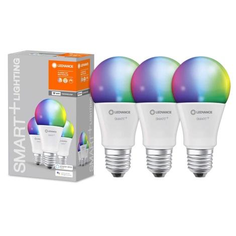 KÉSZLET 3x LED RGBW Dimmelhető izzó SMART+ E27/9W/230V 2700K-6500K Wi-Fi - Ledvance