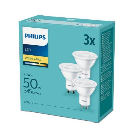 Készlet 3xLED Izzó Philips GU10/4,7W/230V 2700K