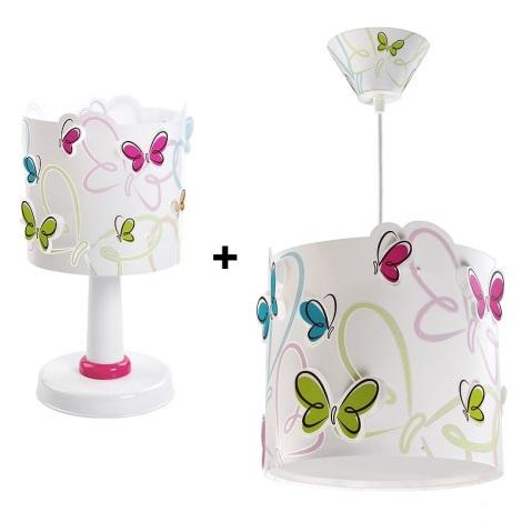 Klik 6214 - BUTTERFLY asztali lámpa 1xE14/40W + csillár 1xE27/60W szett