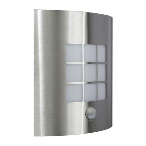 Kültéri fali lámpa érzékelővel INOX 1xE27/60W/230V - 17015/47/CA