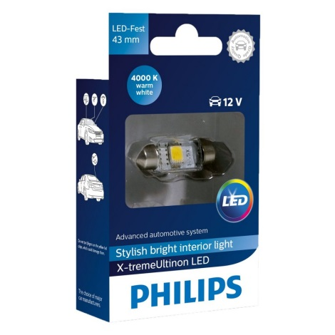 LED Autó izzó Philips X-TREME VISION 129454000KX1 C5W SV8,5/1W/12V 4000K