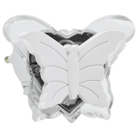 LED Éjjeli fény konnektorba 0,4W/230V fehér pillangó