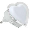 LED Éjjeli fény konnektorba 0,4W/230V fehér szív