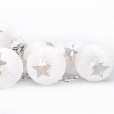 LED Karácsonyi lánc gömbök 1 m 10xLED/2xAA