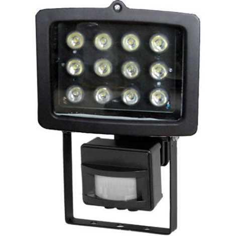 LED Reflektor  PIR érzékelővel T301 12xLED/12W/230V fekete