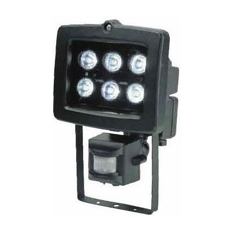 LED reflektor  PIR érzékelővel T304 6xLED/6W fekete