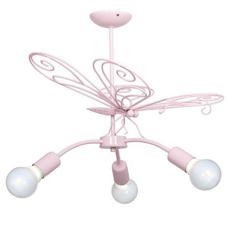 LEPKE gyerek csillár 3xE27/60W rózsaszín