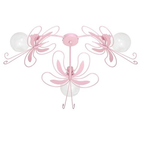 LEPKE gyerek mennyezeti lámpa 3xE27/60W rózsaszín