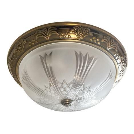 Mennyezeti lámpa 2xE27/60W bronz/csiszolt üveg