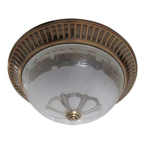 Mennyezeti lámpa 2xE27/60W bronz/üveg virág