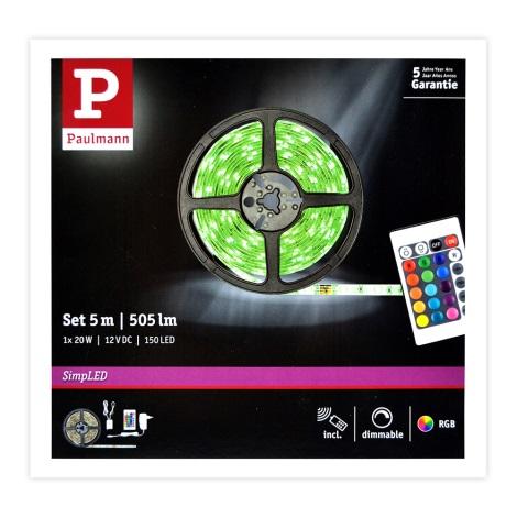 Paulmann 78978 - LED RGB/20W Dimmelhető szalag SIMPLED 5m 230V + távirányító