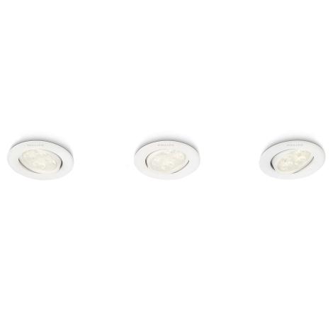 Philips 45090/31/16 - KÉSZLET 3x LED beépíthető lámpa ALBIREO 3xLED/4W/230V