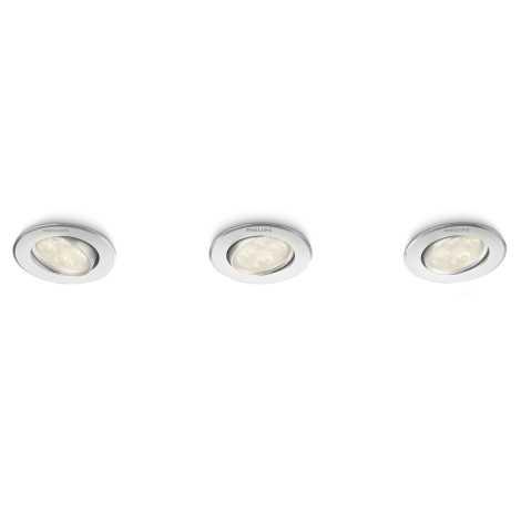 Philips 45090/48/16 - KÉSZLET 3x LED beépíthető lámpa ALBIREO 3xLED/4W/230V