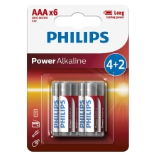 Philips LR03P6BP/10 - 6 db alkáli elem AAA POWER ALKALINE 1,5V